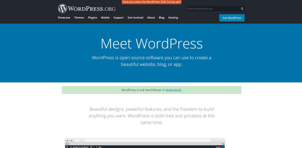 WordPress vs Wix - WordPress homepage